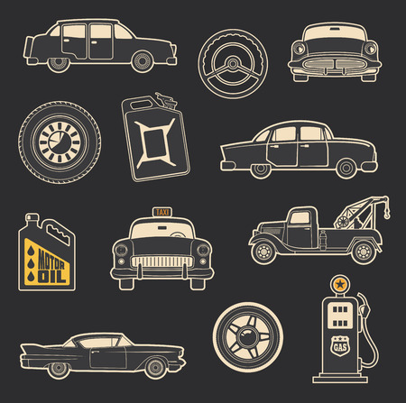 Retro car and transport icons of old taxi, wheel and tow truck, motor oil and gasoline can, steering wheel and gas pump. Vintage vehicle and transportation service themes design