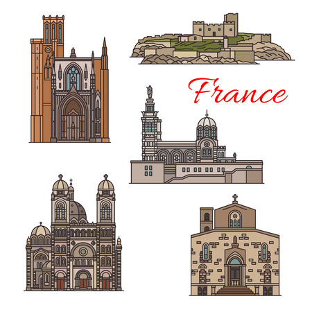 Travel landmarks and tourist sights of France icon