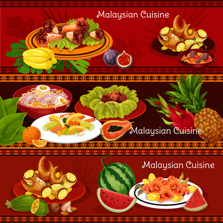 Malaysian cuisine restaurant banners with traditional food. Chicken wing and shrimp salad with chili sauce, noodle soup, stuffed crab claw, vegetable salad and chicken stew for exotic menu design Stock Vector - 114776579