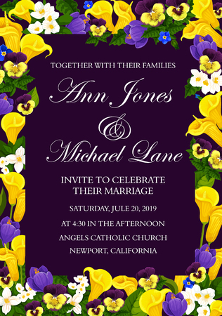 Wedding invitation card with floral frame of spring flower. Blooming crocus, calla lily, jasmine and pansy flower border with green leaf branch for engagement ceremony invite banner design
