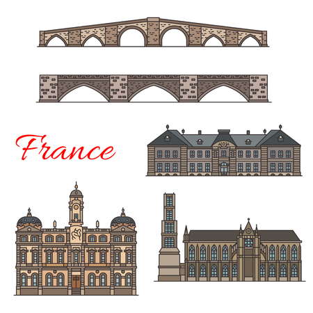 French travel landmarks thin line icons