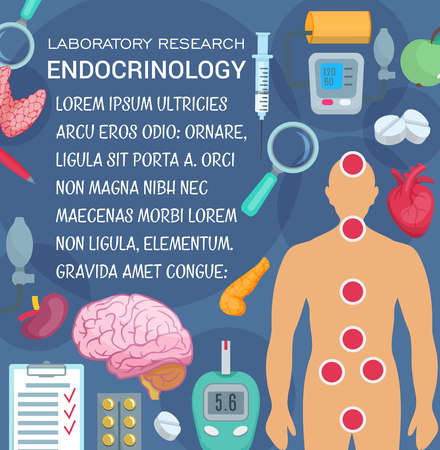 Endocrinology medicine and laboratory research poster for health care design. Human heart, brain and pancreas, thyroid and adrenal glands, pill, syringe and blood pressure, diabet test and medicines Illustration