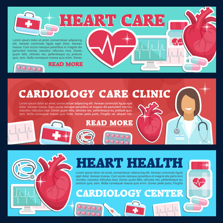 Cardiology medicine banner for heart health care and cardiac clinic. Cardiologist doctor, heart and stethoscope, pill, syringe and grug, ecg test and heartbeat pulse flat poster for hospital design