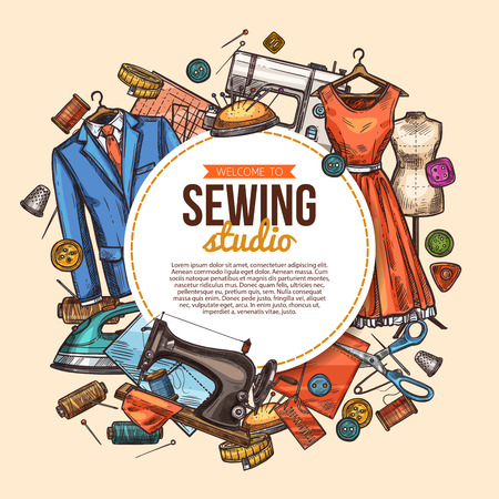 Sewing studio poster with tailor fashion workshop sketch. Atelier or dressmaker tool banner with fabric, cloth and sewing machine, needle, scissor and mannequin, thread, dress and suit Foto de archivo - 114776586