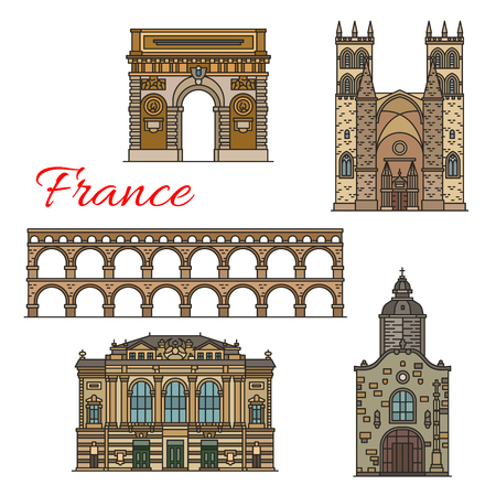 Tourist sights of France icons for travel design Illustration