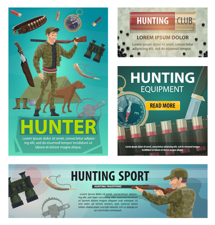 Hunting sport cards of hunter, rifle and equipment Ilustração