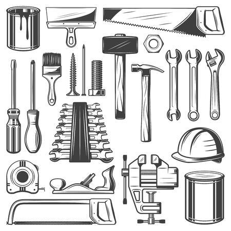 Iconos retro de la herramienta de reparación de la construcción y la casa. Destornillador, martillo y llave inglesa, llave inglesa, pintura y pincel, sierra, espátula y cinta métrica, tornillo, clavo y casco, plano de gato y boceto de abrazadera