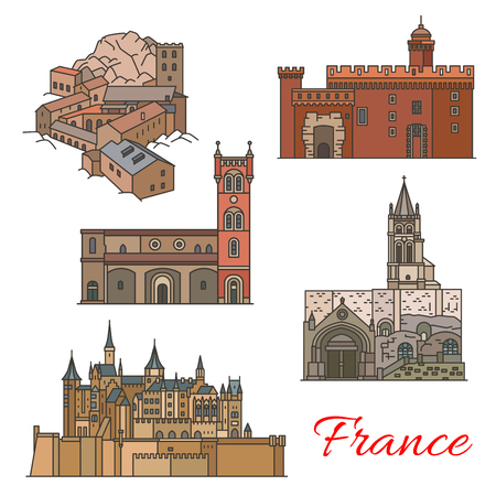 Travel landmarks of France with tourist sights Иллюстрация