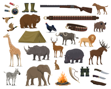 Hunting sport weapon, wild animals and birds. Gun, rifle and knife, duck, dog and deer, african elephant, lion and giraffe, bear, reindeer and elk, rhino, hippo and zebra, boar and hare symbol