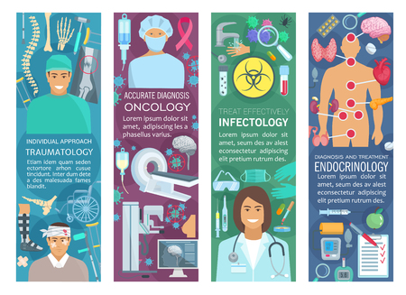 Traumatology, oncology, endocrinology and infectiology medicine banners. Medical hospital doctor flyer with traumatologist, oncologist, endocrinologist and infectiologist with health care symbol Stock Vector - 114776590