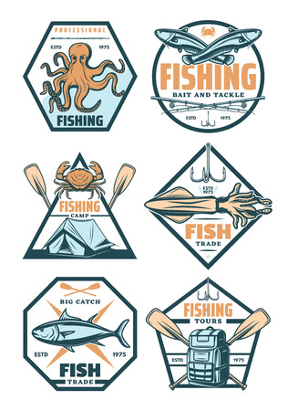 Fishing retro badges with fish and fisherman tackle. Salmon, fishing rod and hook, crab, squid and octopus sea animal, paddle, tent and backpack vintage symbols for fisher sport club emblem design