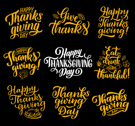 Happy Thanksgiving lettering greeting cards