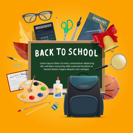 Back to school education poster with student supplies and stationery. Classroom chalkboard with pencil, ruler and book, pen, scissors and backpack, paint, brush and ball, calculator and compasses