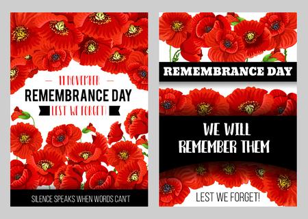 Remembrance Day herdenkingsposter met Britse legioen klaproosbloem. Wereldoorlog soldaat en veteraan herdenken verjaardag floral banner ontwerp met rode papaverbloem en knop Vector Illustratie