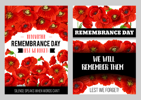 Remembrance Day memorial poster with British legion poppy flower. World War soldier and veteran commemorate anniversary floral banner design with red poppy flower and bud