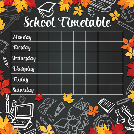 School timetable design of weekly lesson schedule on black chalkboard. Vector chalk, school bag and education stationery supplies chemistry book, microscope or geography globe on blackboard background
