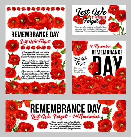 Remembrance Day poppy flower memorial banner