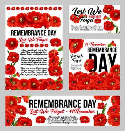 Remembrance Day poppy flower memorial banner