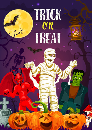 Halloween trick or treat banner for autumn holiday celebration. Spooky cemetery monster poster with scary pumpkin, bat and moon, zombie, skeleton and mummy for horror night party invitation design