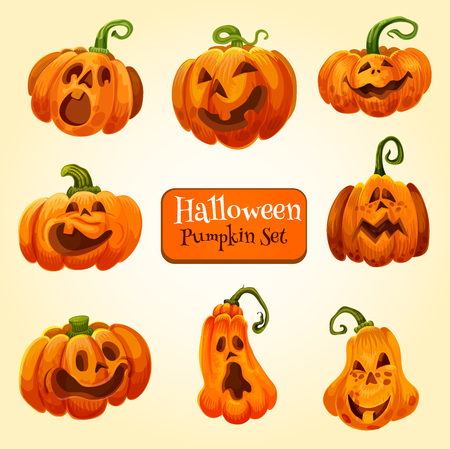 Halloween pumpkin lantern icon, autumn holiday