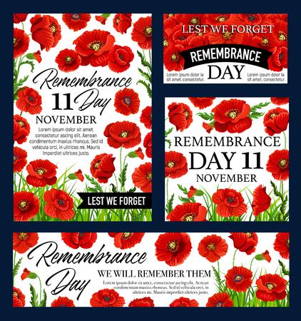 Red poppy flower Remembrance Day memorial banner Illustration
