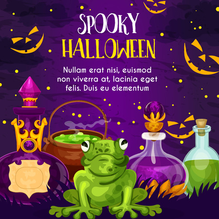 Halloween holiday greeting card with potion bottle