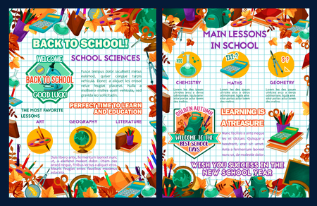 School sciences vector education lesson poster