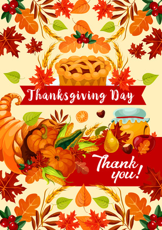 Thanksgiving Day autumn holiday greeting banner