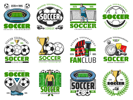 Football winner cup and soccer ball emblem design Ilustrace