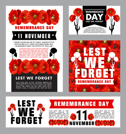 Remembrance Day memorial card of red poppy flower Ilustração