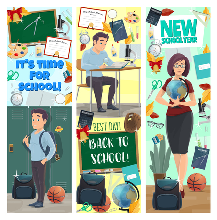 Student and teacher with education supplies and class items banners of New School Year celebration. Book, pencil and pen, blackboard, ruler and globe, backpack, microscope and stationery flyers design