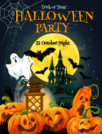 Halloween party poster for autumn holiday celebration. Ghost haunted house under full moon night sky with bat, ghost and zombie invitation banner design, decorated by pumpkin lantern and spider net