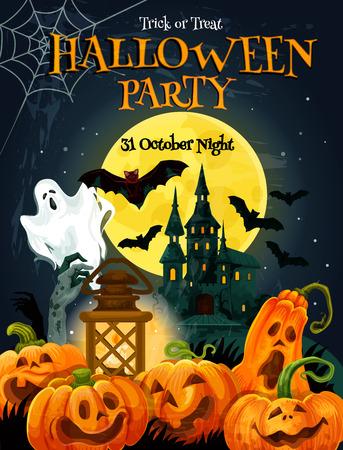 Affiche de fête d'Halloween pour la célébration des vacances d'automne. Maison hantée fantôme sous un ciel nocturne de pleine lune avec un design de bannière d'invitation de chauve-souris, de fantôme et de zombie, décorée par une lanterne citrouille et un filet d'araignée Vecteurs