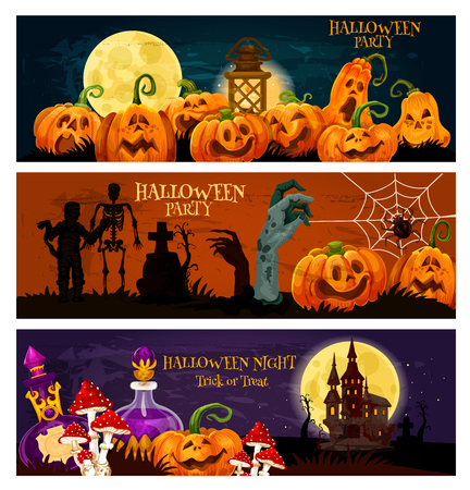 Halloween zombie night party banner. Pumpkin lantern, ghost haunted house and cemetery with zombie and skeleton, moon, spider net and thomb invitation template for october holiday celebration design