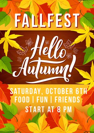 Autumn harvest fest invitation with fallen leaf