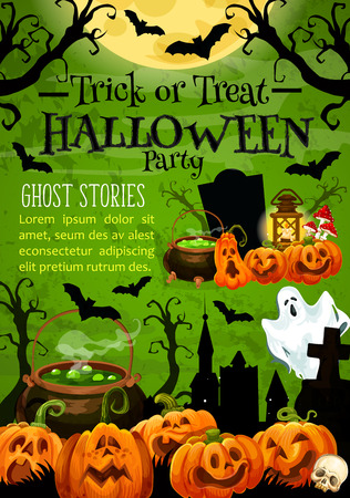 Halloween holiday trick or treat pumpkin banner for horror night party invitation. Spooky ghost, lantern and bat, cemetery gravestone, moon and witch potion festive poster for october holiday design