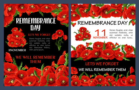 Remembrance Day poster with red poppy flower frame. Lest We Forget floral banner for 11 November World War soldier and veteran memorial card with red flower of poppy and green leaf Illustration