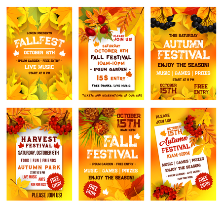 Zestaw szablonów plakat festiwalu jesiennego. Jesienny sztandar uroczystości żniw, ozdobiony żółtym liściem klonu, pomarańczowymi liśćmi kasztanowca, jagód jarzębiny i wrzośca, szyszka sosny na projekt zaproszenia na przyjęcie jesienne