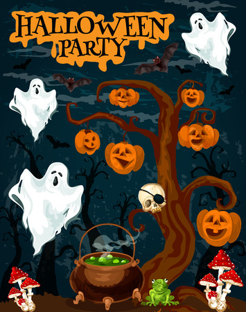Halloween party invitation banner with horror ghost. Creepy night forest with spooky tree, pumpkin lantern and skeleton skull, ghost, bat and witch potion in cauldron for october holiday poster design