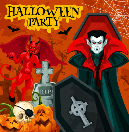 Halloween party poster with october holiday horror vampire. Spooky pumpkin, skeleton skull and bat, fear devil demon, Dracula and cemetery gravestone festive banner for invitation flyer design