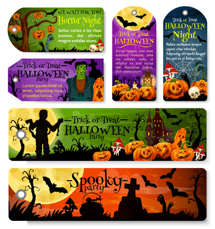 Halloween festive tag and october holiday night party label design. Horror pumpkin lantern, bat and spider net, zombie, ghost house and cemetery gravestone, moon, skeleton skull and witch potion