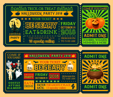 Halloween ticket template for october holiday night party. Admit one ticket design with horror pumpkin lantern, ghost and bat, spooky house, moon and skeleton skull, mummy, zombie and vampire monster