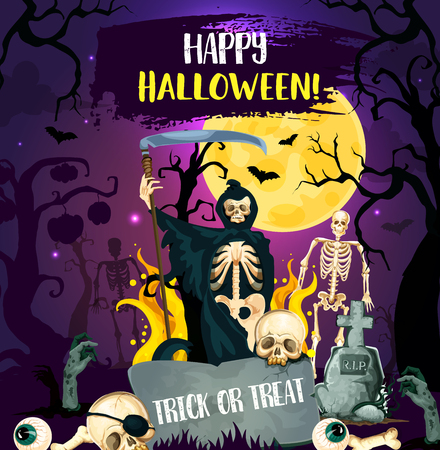 Halloween trick or treat night party invitation poster with cemetery ghost. Horror skeleton, zombie and death with scythe, skull, full moon and bat on graveyard for autumn holiday greeting card design