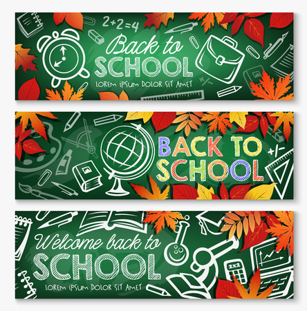 Back to school chalkboard banner set with education supplies and autumn leaves. Student book, pencil and pen, globe, schoolbag and paint chalk sketch on blackboard with frame of orange falling leaves