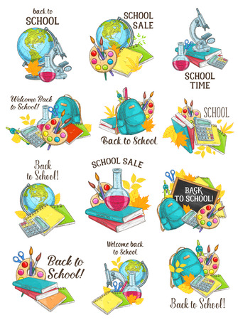 Back to School sketch icons for education autumn season of school bag and book, pencil or ruler and computer or paint brush and notebook. Vector maple or oak leaf design for Welcome Back to School