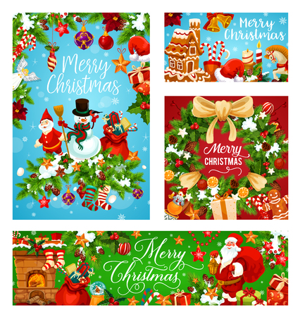 Merry Christmas Holiday greeting card and New Year festive banner. Snowman, Santa and gift bag with present, Xmas tree wreath with bell, ribbon bow and snowflake, star, ball and candy, candle and snow Illustration