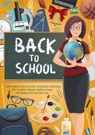 Back to school poster of teacher with education student supplies. Book, pencil and blackboard, paint, brush and globe, microscope, backpack and graduation diploma, ball and stationery banner design