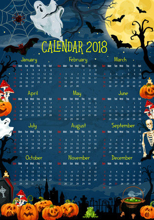 Halloween calendar with horror holiday pumpkin and ghost. 2018 year calendar template, framed with Halloween lantern, bat and moon, spider net, cemetery and skeleton skull, witch potion and gravestone
