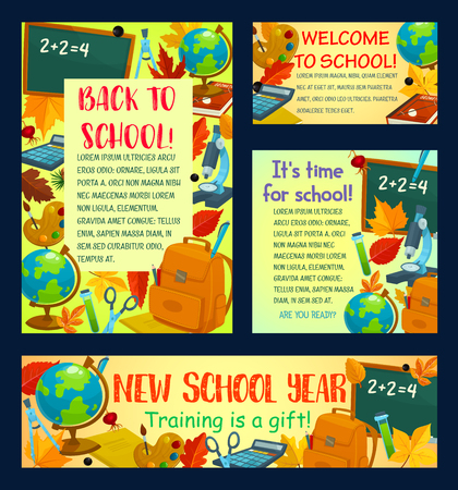 Back to school welcoming poster and greeting card template. School supplies banner set with student book, pencil and paint, blackboard, globe, backpack and autumn leaf for education themes design