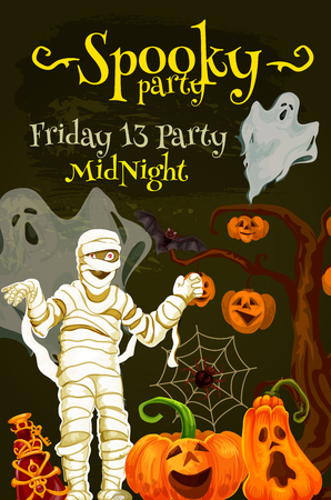 Halloween night party poster with spooky monsters. October holiday pumpkin, ghost and bat, spider net, mummy and witch potion for invitation flyer and promotion banner design